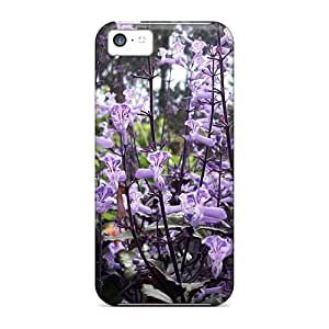 First-class Case Cover For Iphone 5c Dual Protection Cover Pretty Violet Flowers