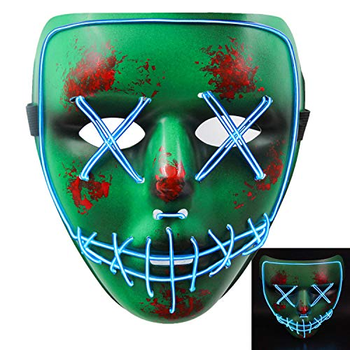 heytech Halloween Scary Mask Cosplay Led Costume Mask EL Wire Light up Halloween Festival Party Green-b -
