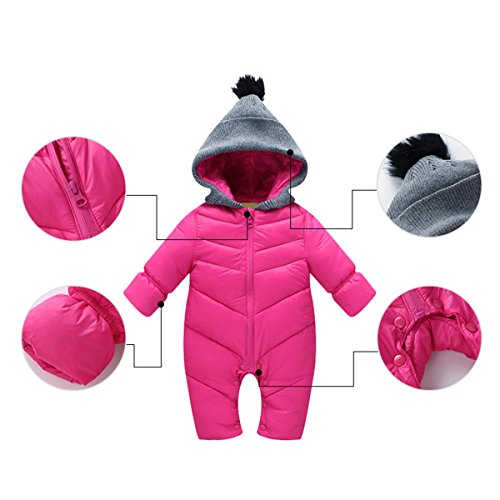 Newborn Romper Rose Baby Cherry Jumpsuit Snowsuit Winter Hooded Thick Outerwear Happy Infant Coat Red qZ8pwzW