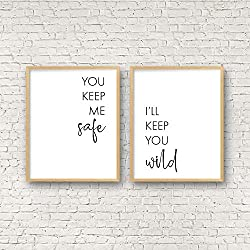 You Keep Me Safe I'll Keep You Wild Above Bed Wall Art Bedroom Quote Wall Art Valentines Day Decor Wedding Gift Couple Printable Wall Artset of 2 Wood Pallet Design Sign Plaque with Frame wooden sign