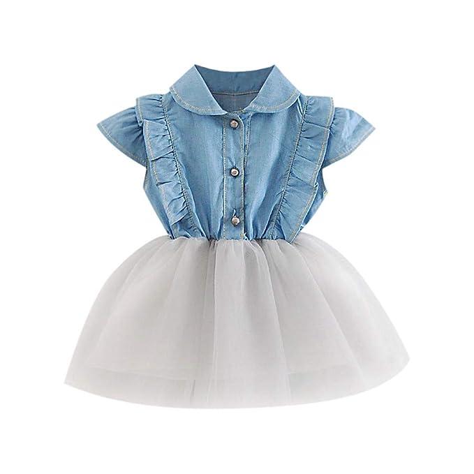 TIFIY Mädchen Tütü Sommerkleid Denim Prinzessin Kleider Kleinkind-Säuglingsbaby Karneval Tutu Abendkleid Outfits Hochzeit Kle