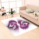 Nalahome Custom carpet res Decor Psychedelic Bizarre Helix Lettering Pattern with Illuminations Futuristic Image Purple area rugs for Living Dining Room Bedroom Hallway Office Carpet (2' X 3')
