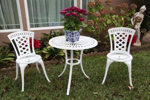 Outdoor Patio Deck Aluminum Furniture 3 Pc Bistro Set D with 27.5″ Table CBM1290 For Sale