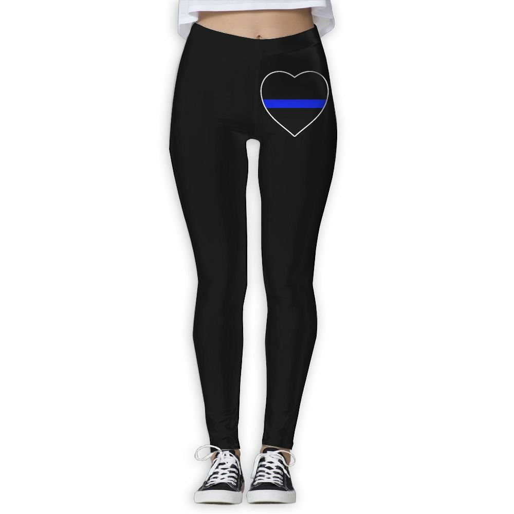 DDCYOGA Police Thin Blue Line Heart Women's Stretch Boot Leg Yoga Pants Exercise Gym Jogger Leggings For Girls