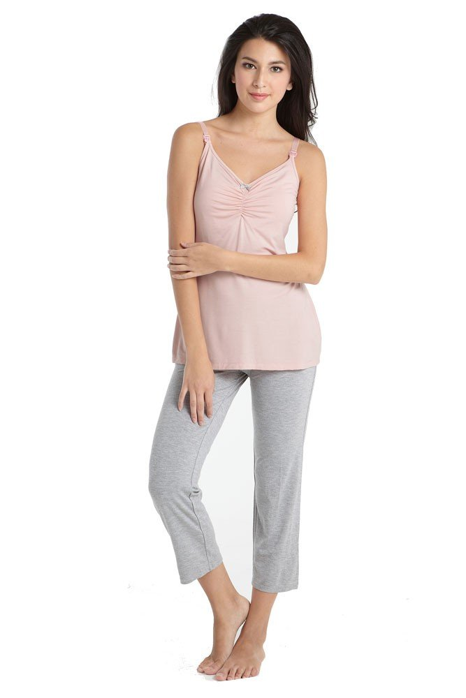 Mothers en Vogue Bamboo Caminurse PJ & Robe Set (3 pc.) - M - Pink-Grey