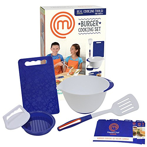 MasterChef Junior Burger Cooking Set - 5 Pc. Kit Includes Real Cooking Tools for Kids and Recipes Own Ultimate Burgers