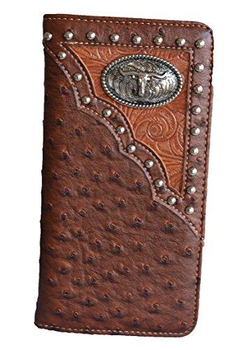 western men brown black longhorn texas animal long checkbook wallet (brown)