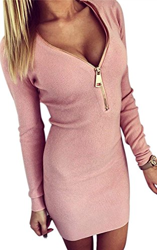 Longwu Sexy Womens Deep V-neck Zipper Long sleeve Knitting Mini Bodycon Sweater Dress Pink-M - Charmeuse Jumpsuit
