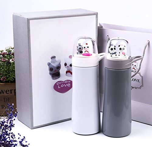 UNIQUE GIFTS FOR COUPLES - Set of two Cute Stainless Steel Flask Thermos in a Beautiful Gift Box (Decoracion Para Autos compare prices)