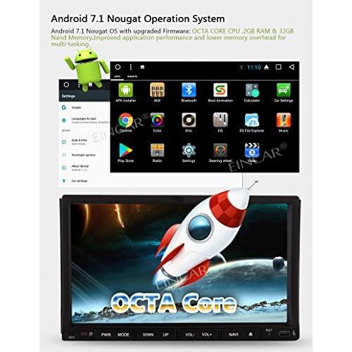 2 Go 32 Go Android 7.1 Octa de base Car Stereo - 2 Din Bluetooth Radio - Support GPS Navigation, caisson de basses, SD USB, WIFI 3G, sortie AV, Caméra DVR avant inversée, OBD2 Mirror Link - avec caméra de hot sale 2017