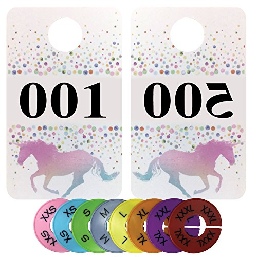- Live Sales Reverse Numbered Tags - Plastic Coat Hanger Number Tags | Mirrored & Normal Numbers for Facebook Live Sales | Lularoe Number Tags | Bundled with Round Size Tags (001-500 (+ 32 Size Tags))