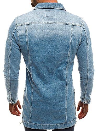 J Cuero Style Chaqueta Capucha Vaquera ozonee 2020 Chaqueta 3056 claro Azul Chaqueta Jacket Chaqueta OZONEE de Mix ot para Hombres Invierno con de n7w0aqZF
