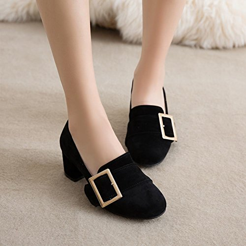 Mid Toe Womens Square Buckle Heel Pumps Shoes Fashion Carolbar Black Cuff nqYO4WxwdE
