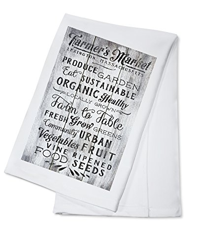 Lexington, Massachusetts - Farmers Market - Rustic Typography - Black and White (100% Cotton Kitchen ()