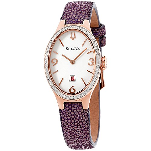 Diamonds White Dial - Bulova Diamond White Dial Leather Strap Ladies Watch 98R198
