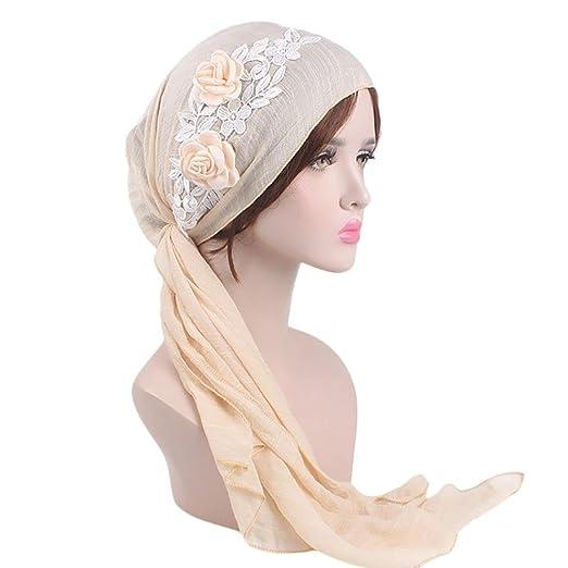 a37ae9568fa Women s Muslim Scarf Hat Stretch Turban Long Tail Headwear for Cancer Chemo  (Beige)