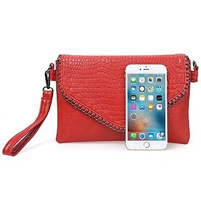 BMC Womens Textured Faux Leather Metal Accent Multi Compartment Clutch Handbag