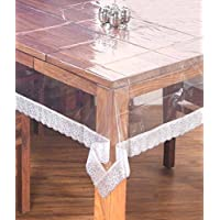 Kuber Industries Transparent 3D Design Center Table Cover 4 Seater 40 * 60 Inches (Golden Lace)
