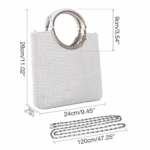 Baglamor Bag Wedding Bags Women's Rhinestone Handbag Crystal Purse Clutch Silver Evening gxHqgrI0