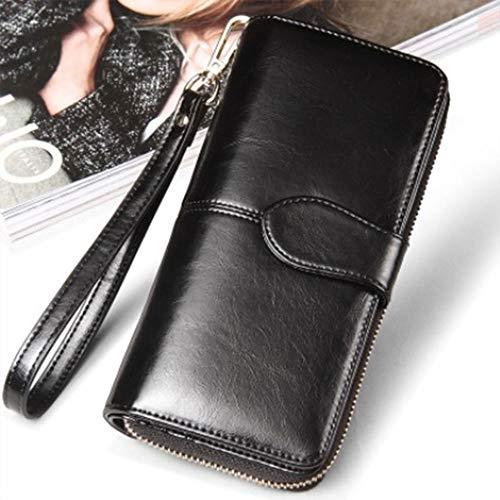 Hand Wax Women Leather Long Bag Female Zipper Bag Oil Purse Wallet Multifunctional Black Elegant 84FBxnq