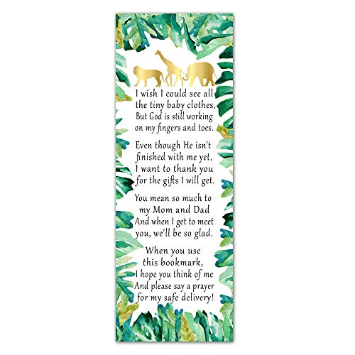 Pink The Cat 50 Bookmarks Baby Shower Party Favor Gift Idea Safari Jungle Leaves Animals -