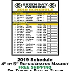 graphic regarding Green Bay Packers Printable Schedule titled : Eco-friendly Bay Packers NFL Soccer 2019 Plan and