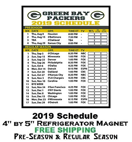 Green Bay Packers NFL Football 2019 Full Season Schedule Refrigerator Magnet #311C