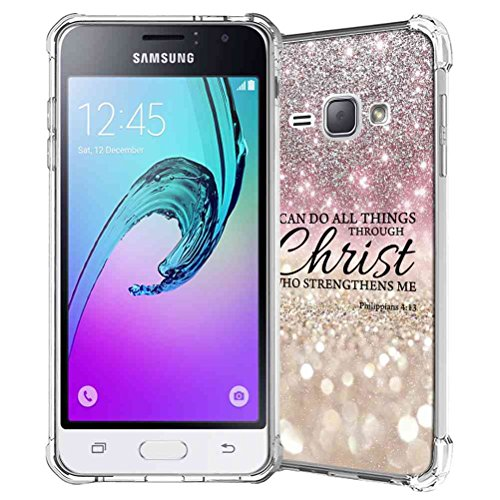 Galaxy J1 2016 Case, Galaxy Amp 2/Express 3 Case, SuperbBeast Slim Thin Scratch Resistant TPU Gel Rubber Protective Case for Samsung Galaxy J1 2016 SM-J120 (Silver Sparkle Glitter Texture Pattern) -