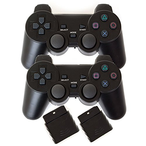 Saloke 2 Packs Wireless Gaming Controllers for Ps2 Double Shock (Black and Black)