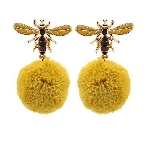Romantic Fate Delicate and Lovely Yellow Honeybee Lint Ball Pendant Woman Hook Stud Earrings