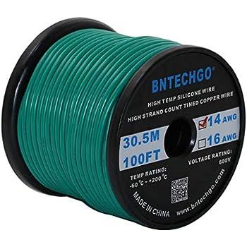 Amazon Com Bntechgo 14 Gauge Silicone Wire Spool Green