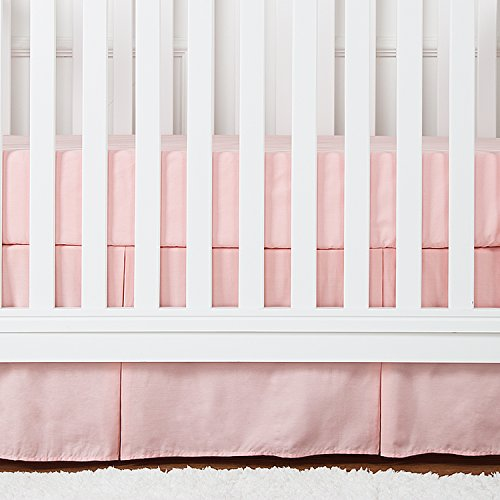 TILLYOU Crib Bed Skirt Pleated, 100% Natural Cotton, Nursery Crib Bedding Skirts for Baby Girls and Boys, 14 Drop/Peachy Pink