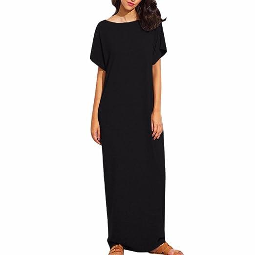 574722a9ac7 HANYI Women s Girls Comfy Swing Short Sleeve Simple Tunic Plus Size Loose  Long Floor-Length