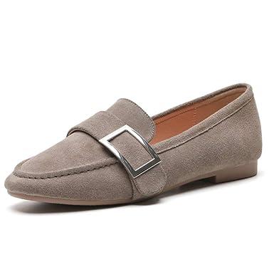 RegbKing Zapatos Con Suela Plana Hebilla De Metal Mocasines De Ante Zapatos Para Barcos Zapatillas De Ballet Zapatos De Trabajo Ocasionales: Amazon.es: Ropa ...