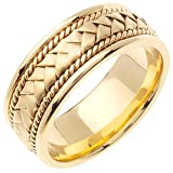 14K Gold Braided Basket Weave Men's Comfort Fit Wedding Band (8.5mm) Size-13c1