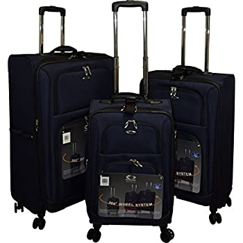Image of Kemyer 1000 Plus Series 3-PC Expandable Spinner Luggage Set (8 wheel- Navy) Luggage