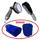 Car Wheel Brush Set - Meiso Car Wheel Cleaning Brush Kit Tool Tire Rim Scrub Brush Soft Alloy Brush Cleaner Tie Auto Wheel Cleaning Gloves and Cloth