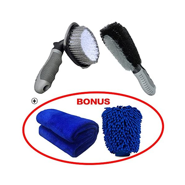 Car Wheel Brush Set, Meiso Car Wheel Cleaning Brush Kit Tool Tire Rim Scrub Brush Soft Alloy Brush Cleaner Tie Auto Wheel Cleaning Gloves And Cloth