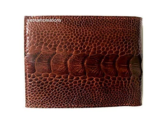 vietnamcreations  RFID Blocking Genuine Ostrich Leather Handmade Bifold Wallet for Men medium 3# Brown OSTRICH wallet 4.7