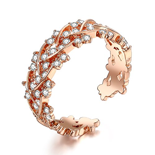 Serend SPILOVE Luxury Wreath Adjustable Open Eternity Rings CZ Diamond 18K Rose Gold Plated Women Wedding Band, Mothers Day Gifts
