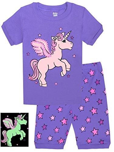 Horse Short (Girls Horse Pajamas Shine At Night Sleepwear Children Cotton PJs Size)