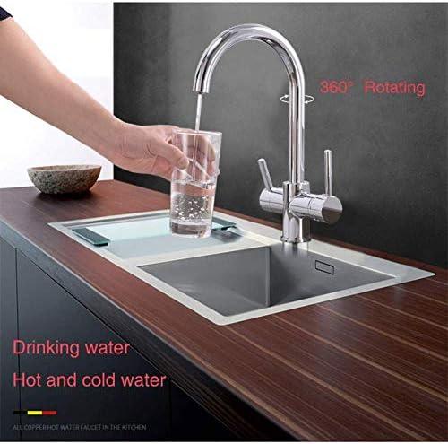 DXX-HR 蛇口キッチンタップ曲げ黒い水の浄化タップフィルタ付きの飲料水キッチン蛇口デュアルハンドルミキサークレーン付き360度回転