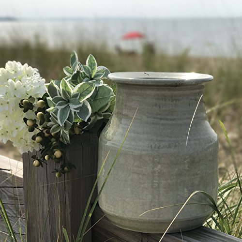 The Beach Chic Artisinal Vase, Celadon Glazed, Distressed Green, Crackled with Terracotta Undertones, Stoneware, 8 1/4 Diameter, 10 1/4 Tall Inches, By Whole House Worlds Celadon Glazed