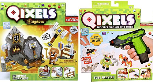 Mighty Toy Farm Series (Qixels Kingdoms Design Creator Cubes Qixels S1 Fuse Blaster + Mega Refill Crafting Water System Weapons Workshop with metallic colors Swords / axe / hammer monsters, warriors, ninjas Double power pack)