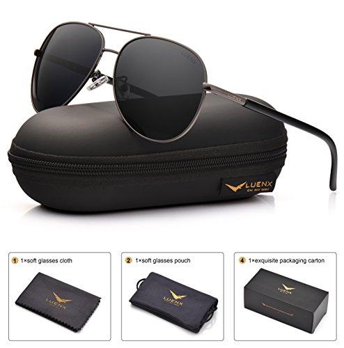 LUENX Men Women Aviator Sunglasses Grey Polarized Lens Metal Frame - UV 400 with Accessories 60MM by LUENX