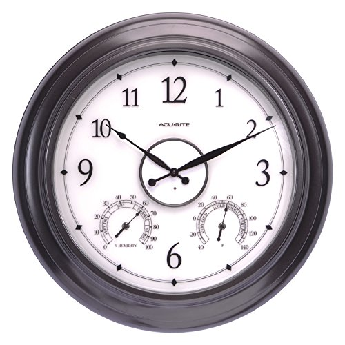 "AcuRite 75133M LED Illuminated Outdoor Clock with Temperature and Humidity, 24"", Black"