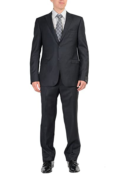 Amazon.com: zzegna 100% Lana Negro Hombres de rayas traje de ...