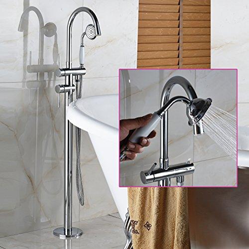 Senlesen Floor Mounted Tub Filler Faucet with Handshower Chrome Finished - Tub Filler Handshower
