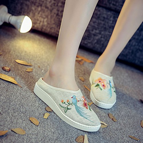 Songbirds Loafer Embroidery Ivory Linen Round Piano AvaCostume Toe Womens Eqw0zSSH