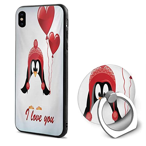 Valentines IPhone X CasesHappy Birthday Balloons I Love You Lettering Cute Funny Penguin Image